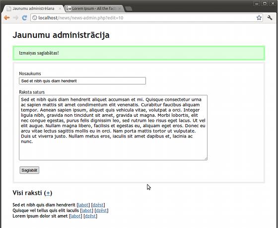 PHP jaunumu skripts - administrācija